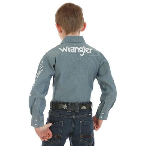 Wranlger Denim Logo Boy's Long Sleeve Shirt