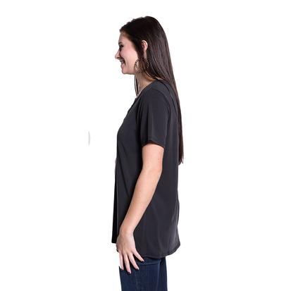 Womens Lace Up Short Sleeve Basic Tee