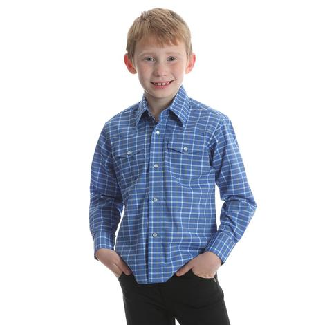 Wrangler Boys Assorted Color Plaid Long Sleeve Button Down Shirt