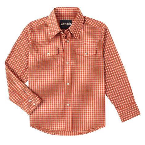 Wrangler Wrinkle Resist Orange Plaid Long Sleeve Snap Boy's Shirt