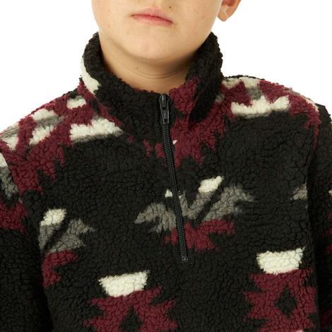 Wrangler Black Aztec Sherpa Boy's Pullover
