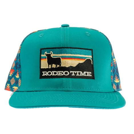 Dale Brisby Teal Rodeo Time Sunset Patch Santa Fe Meshback Cap