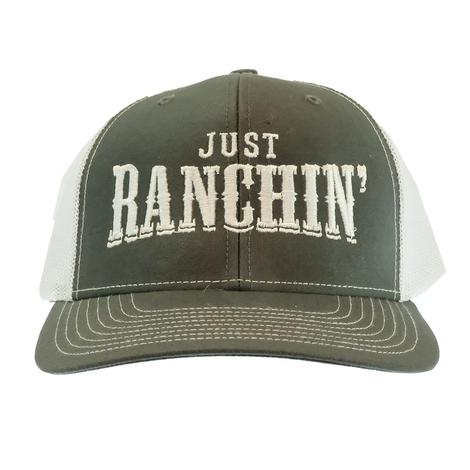 Dale Brisby Just Ranchin' White Grey Meshback Cap