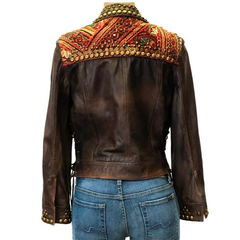 Double D Ranch Mixed Up Trucker Women's Leather Jacket