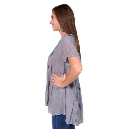 Johnny Was Womens Native Paneled Grey Blouse