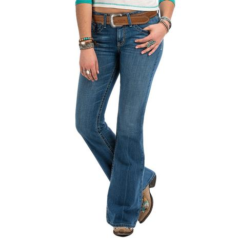 Cruel Girl Womens Hannah Moderate Rise Slim Flare Leg Jeans