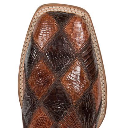 Cinch Mens Chocolate/Cognac Patchwork American Alligator Boots