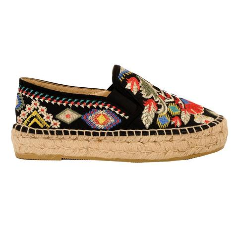 Johnny Was Catopsia Espadrille Women's Shoes in Matte Black
