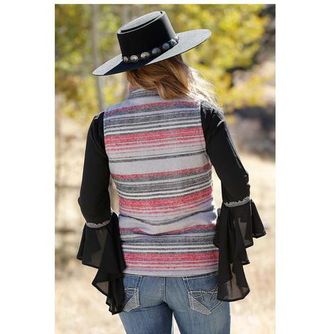 Cruel Girl Pink Grey Stripe Tweed Women's Vest