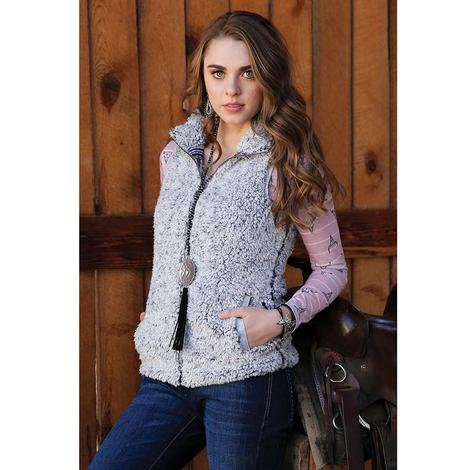 Cruel Girl Grey Sherpa Vest with Printed Knit Lining Women's Vest