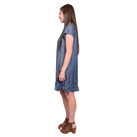 Double D Ranch Womens Cornflower Blue Kudzoo Embroidered Dress