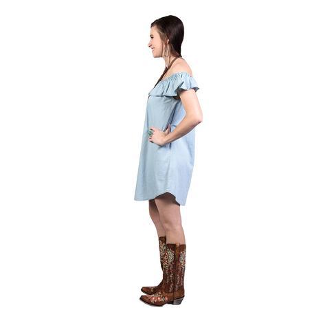 Rock & Roll Cowgirl Light Blue OTS Tencel Dress