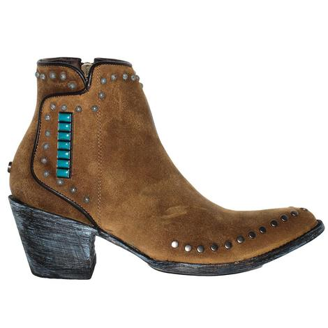 Double D Ranch Womens Gobi Nomad Cognac Shortie Stud Boot