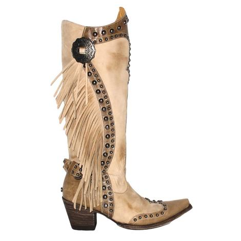 Double D Ranch Womens Rusty Ravine Bone Stud Fringed Boot