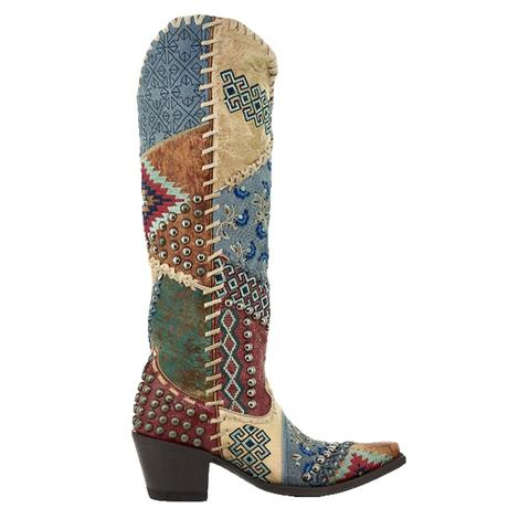 Double D Ranchwear Blow Out Bone Red Patchwork Women's Boots