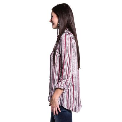 Dear John Womens Bailey Long Sleeve White & Wine Striped Shirt