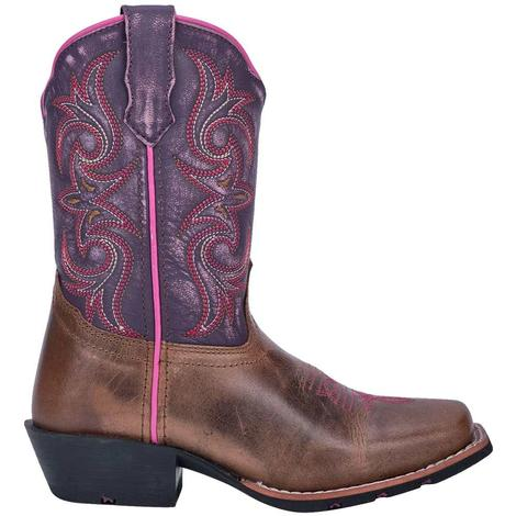 Dan Post Purple Majesty Brown Leather Girl's Youth Boots