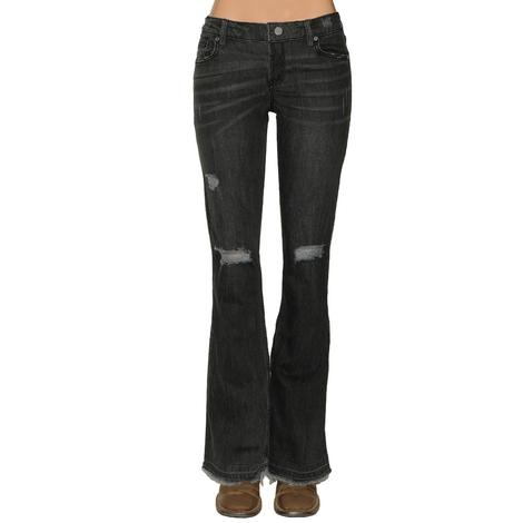 Dear John Denim Rosie Faded Black Flare Women's Jeans