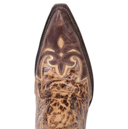 Lucchese Women's Brown Delta Calf Regal Wingtip Diva Boots