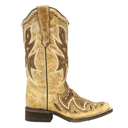 Cinch Womens Tonal Tan Whipstitch Square Toe Boots