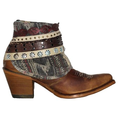 Corral Womens Honey Studded Woven Shorty Boots