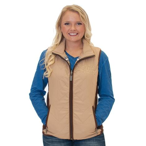Cowgirl Tuff Quilted Tan Women's Reversible Vest