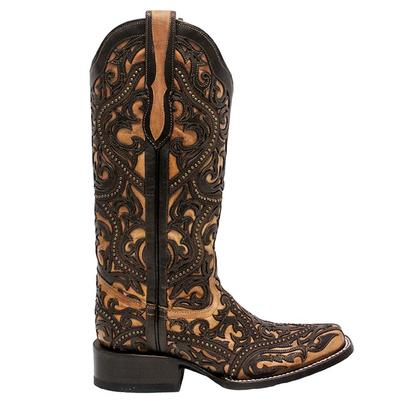 Corral Womens LD Brown Full Overlay Studded Boots