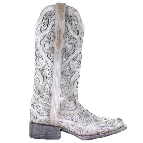 Corral White Full Inlay Women's Boots
