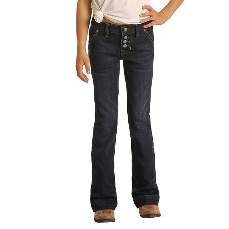 Rock and Roll Cowgirl Dark Wash Girl's Trouser Jeans