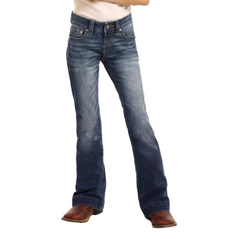 Rock and Roll Cowgirl Medium Wash Girl's Trouser Jeans