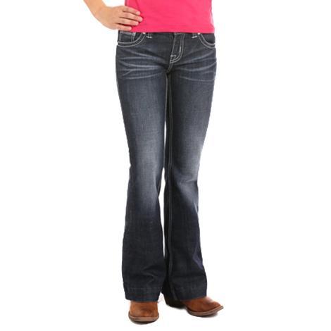 Rock & Roll Cowgirl Girls Diamond Stitched Dark Vintage Trouser Jeans