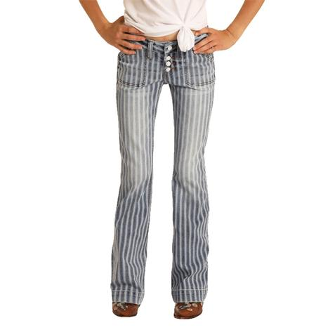 Rock and Roll Cowgirl Medium Wash Stripe Girl's Trousers