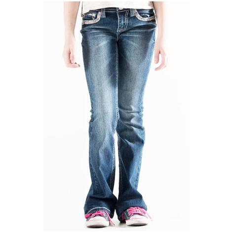 Grace In LA Girls Medium Wash Rhinestone Western Jeans