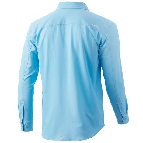 HUK Tide Point Solid Ice Blue Long Sleeve Men's Shirt
