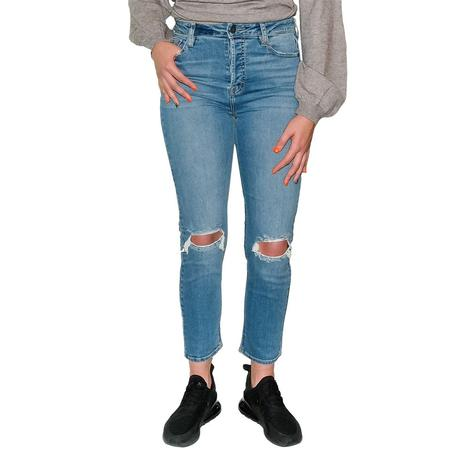 Hidden Women's Medium Wash Distressed Slim Fit Mom Jean
