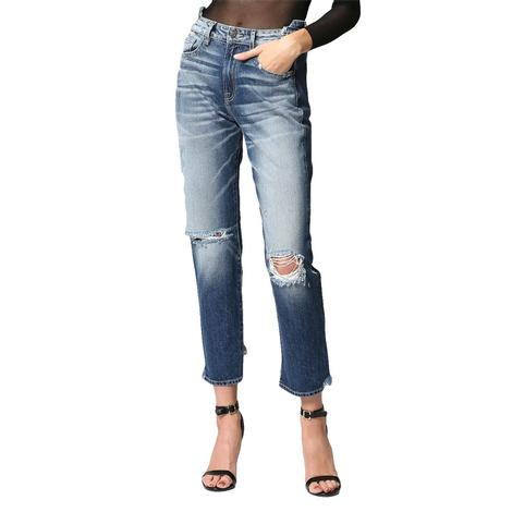 Hidden Jeans Dark Wash Repaired Hem Waist Women's Jeans
