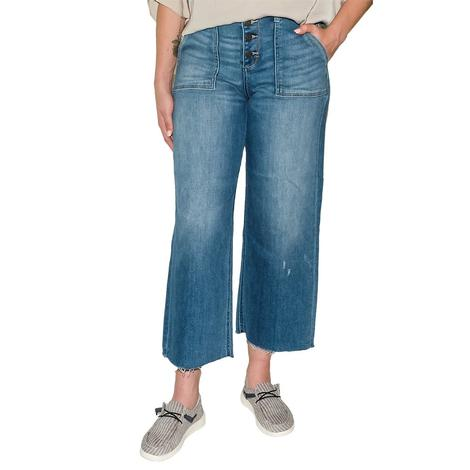 Hidden Light Wash Crop Wide Leg Jean Women's Jeans