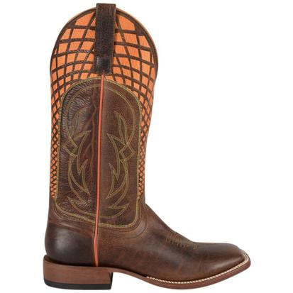 Horse Power Mens Neon Stitched Brown Cowboy Boots
