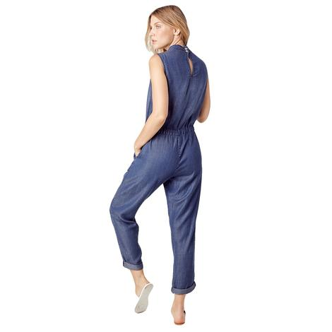 Women's Blue Sleeveless Jumpsuit with Drawstring Waist