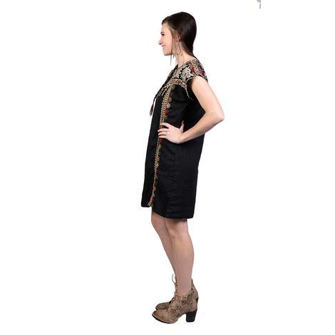 Johnny Was Womens Aliya Shift Tunic Black Dress