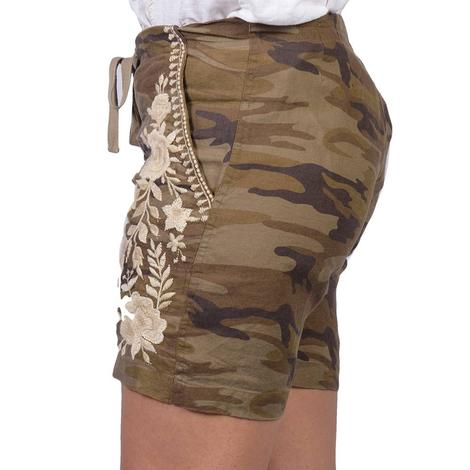Johnny Was Womens Briar Camouflage Linen Shorts