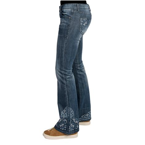 Grace In LA Womens Blue & White Embroidered Jeans