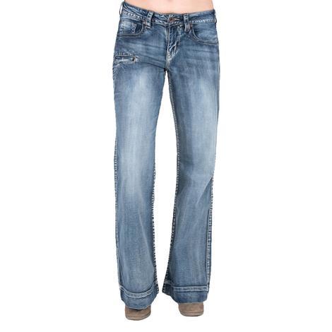 Cowgirl Tuff Just Tuff Breathe Wide Leg Womens Jeans