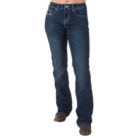 Cowgirl Tuff Cheerful Dark Wash Bootcut Women's Jeans