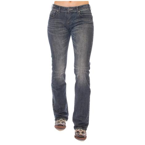Cowgirl Tuff Womens Classy Diva Dark Wash Western Jeans