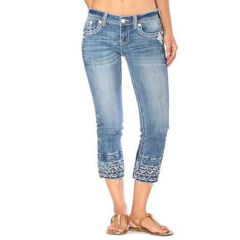 Grace In LA Womens Denim Aztec Embroidered Hem Capri Jeans