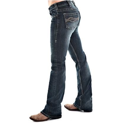 Cowgirl Tuff Womens Don't Fence Me In Dark Jeans