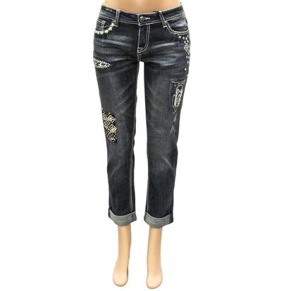 Grace In LA Womens Teresa Boyfriend Patchwork Boyfriend Jeans