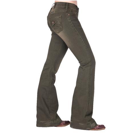 Cowgirl Tuff Hunter Green Camo Women's Trouser Jeans