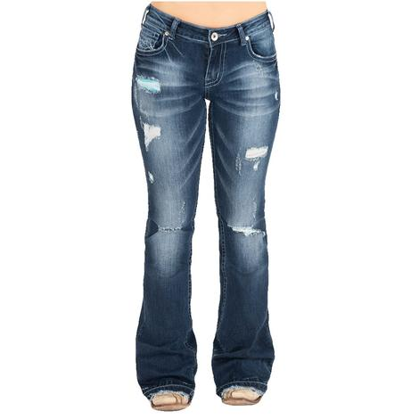 Cowgirl Tuff Let It Be Distressed Women's Trouser Jeans